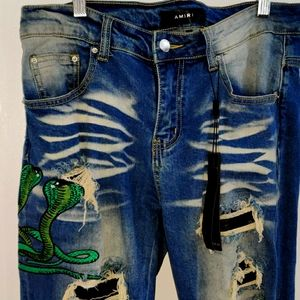 Limited Edition Amiri Snake Distressed Jeans